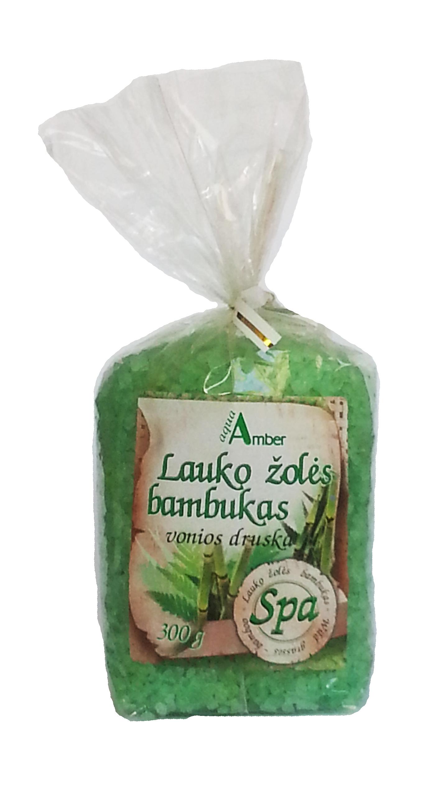 Vonios druska AQUA AMBER SPA su laukų žolėmis ir bambukais, 300g