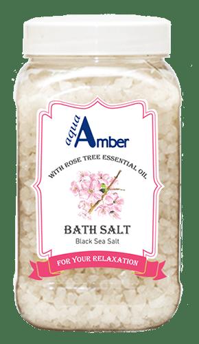 Vonios druska AQUA AMBER su Rožmedžio eteriniu aliejumi, 630g